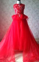 Pageant Red Lace Tutu High Waist Flower Girl Dress 2-Way Girl Birthday Dress NWT image 3