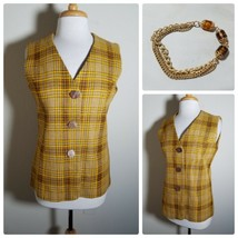 Vintage Jaune Tweed Débardeur Plaid Femmes Doublé Bouton Up + Collier As... - $35.31
