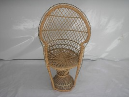 Old Vtg Doll/Bear WICKER CHAIR  Furniture Display  Prop High Back - $29.69