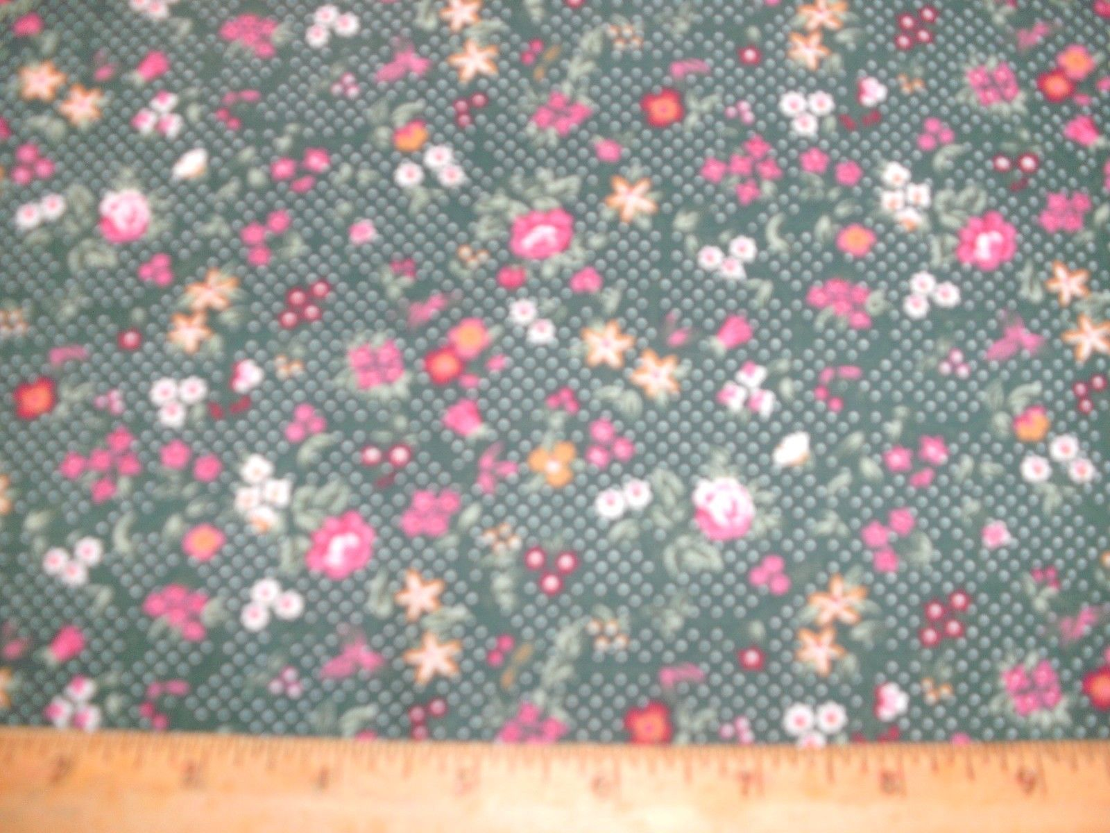 1/2 Yd Concord Quilter's Print Fabric Fuschia Burgundy Gold Flowers Dk Green