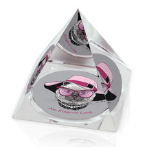 "Elegant Cat Pink Hat Text Fashion Animal Art 3.25"" Crystal Pyramid Paper... - $29.95"