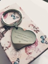 Heart Custom Tag Photo Keychain Stainless Steel Engraved Photograph, Text - $10.92