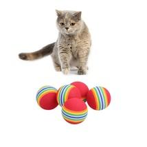 10pcs Rainbow Cat Toy Ball 3.5 cm Sponge Ball Toy Soft Foam Interactive ... - $6.99