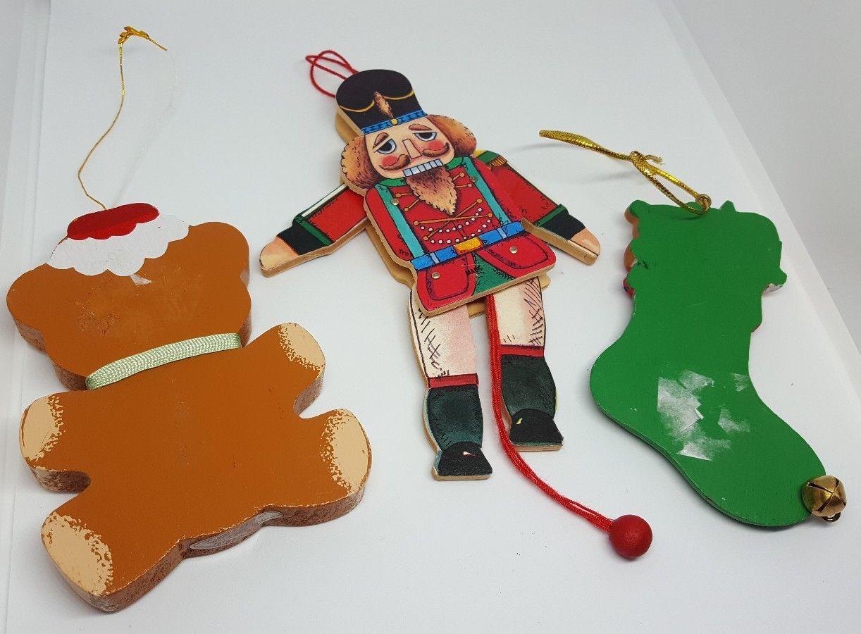 Vintage Kurt S. Adler 1985 wooden bear Christmas Ornament + free soldier & bears