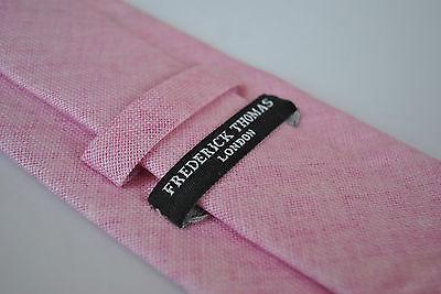 Frederick Thomas tinta unita Rosa Pallido di lino ruvida CRAVATTA ft1966