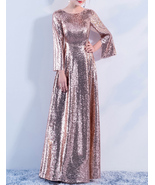 Long Sleeve Rose-Gold Maxi Sequin Dress Women Maxi Sequined Evening Wedding Gown - $149.90