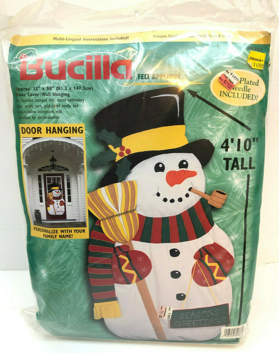 Primary image for Bucilla Xmas Snowman Door Hanging Kit Felt Applique Frosty Seasons Greetings
