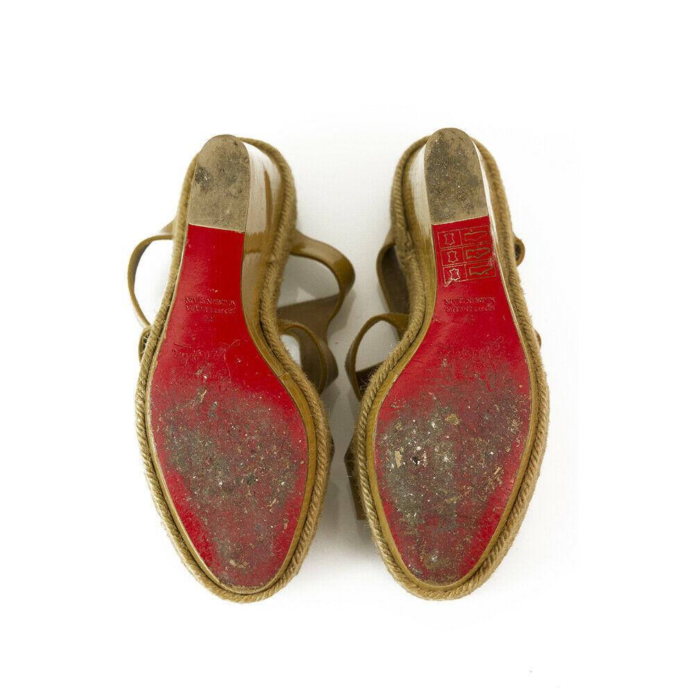 CHRISTIAN LOUBOUTIN Salamanca Espadrille beige Patent Leather Wedges Shoes sz 37 image 3