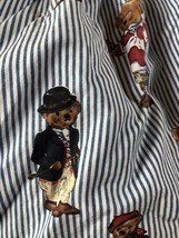Ralph Lauren Polo Teddy Bear Twin Size Bed Skirt Blue White Stripes - $23.02