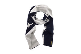 ARMANI JEANS Men Wool Scarf Blue With White Stripe And Logo MADE IN ITALY - $70.68