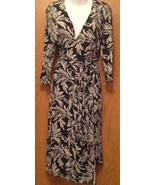 Cabi 3/4 Sleeve Black White Leaves Print Wrap Dress Womens Size M - $13.86