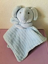 Baby Essentials Solid Blue Elephant Baby Security blanket Textured Stripes - $18.79