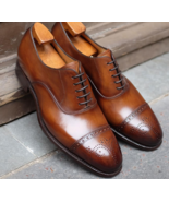 Handmade Burgundy Leather Cap Toe Brogue Shoes, Men's Dress Lace Up Luxu... - $159.97+