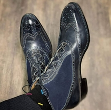Handmade Men's Black Leather & Suede Wing Tip Brogues High Ankle Lace Up Boots image 1
