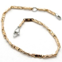 18K ROSE PINK & WHITE GOLD BRACELET WITH ONDULATE TUBE 6.7 INCHES MADE IN ITALY image 1