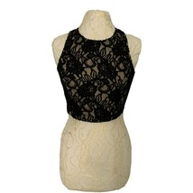 Celine by Champion Black Lace Crop Top Women's Large Sleeveless Festival... - $13.10
