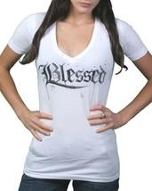 Gods Manos Mujer Blanco Maslo Bendito Profundo Camiseta Con Cuello En V Nwt