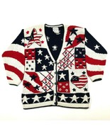Stitches In Time Womens S Cotton America Cardigan Independence Day July 4 - $28.59