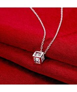 Rubix Cubed Necklace in 18K White Gold Plated with Swarovski Crystals - $9.66