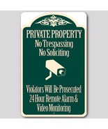 "Private Property No Trespassing No Soliciting Video Surveillance Sign 8""... - $15.83"