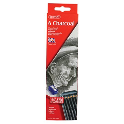Derwent Charcoal Pencils, Metal Tin, 6 Count 0700838