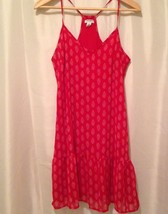 Womans Old Navy Sundress Red White Racer Back Ruffle Flouncy XS - $8.39