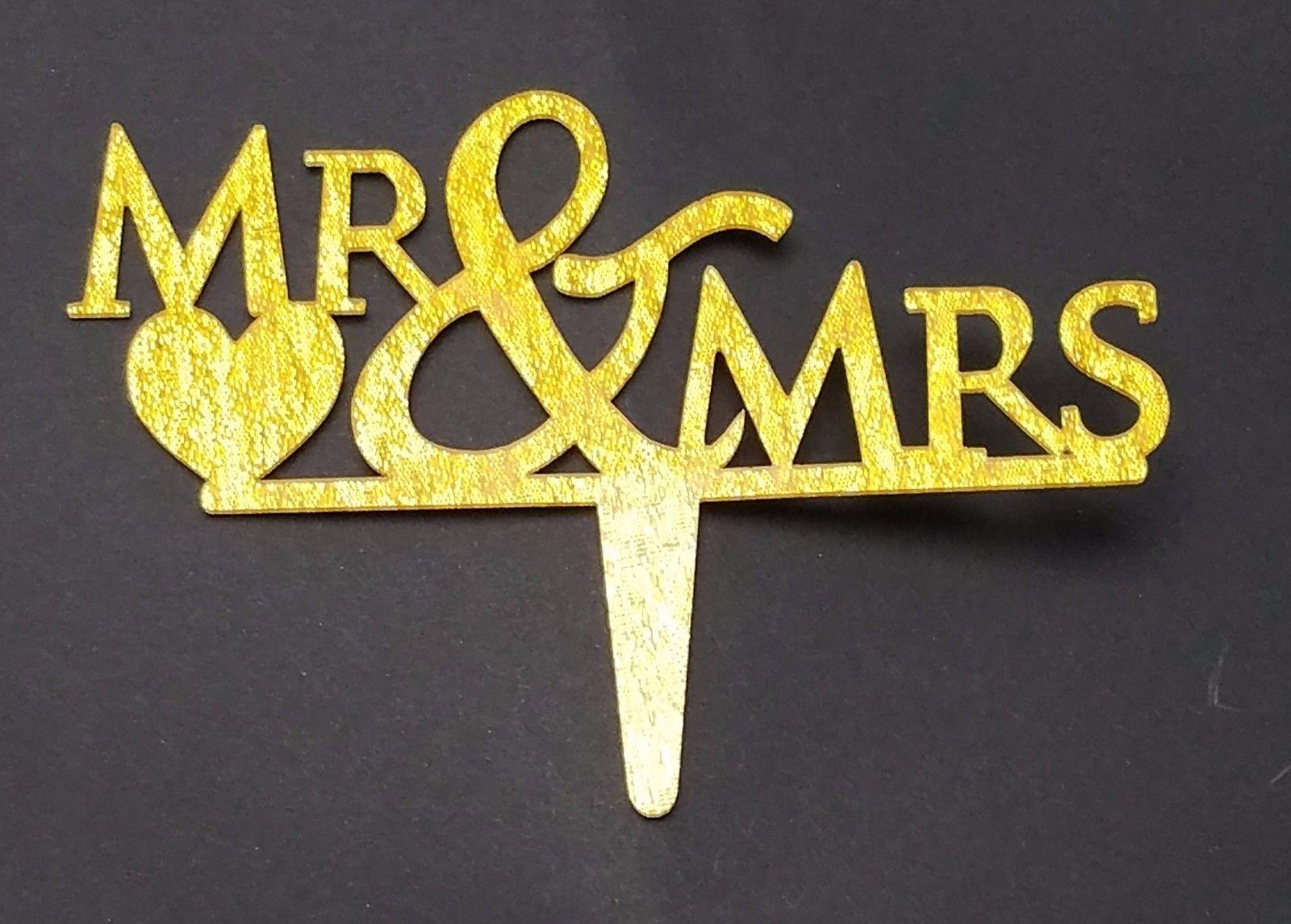 "3 pcs Mr & Mrs signs gold  sparkle acrylic 5"" x 3"" cake top pick"