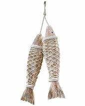 Set of 2 Handcrafted Hanging Wooden Fish Nautical Ornaments Antique Home... - $23.25