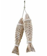 Set of 2 Handcrafted Hanging Wooden Fish Nautical Ornaments Antique Home... - $31.09