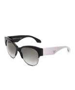 Prada PR11RS TKF0A7 Womens Sunglasses Black White Frame/Grey Lens - $241.53