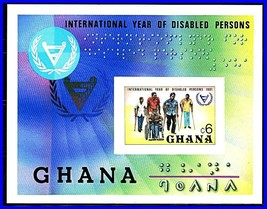 GHANA 1982 YEAR of DISABLED PERSONS imperforated S/s MNH CV$11 MEDICINE ... - $3.22