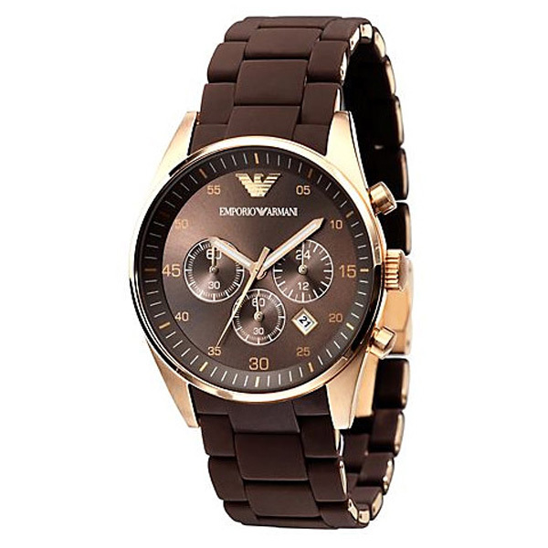 Primary image for EMPORIO ARMANI AR5890 MENS DESIGNER BROWN SPORTIVO CHRONOGRAPH WATCH