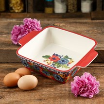 The Pioneer Woman Dazzling Dahlias 8-Inch Square Baker - $24.22