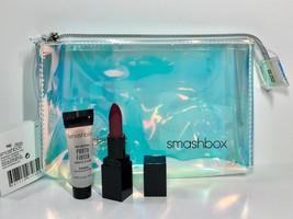 3pc Smashbox Photo Finish Primer, Mini Lipstick, Iridescent Holographic Bag - $11.98