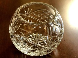 """Mid century clear cut crystal glass small bowl 4"""" tall - $25.99"""