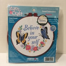"""Believe in Your Self Crewel Embroidery Kit Dimensions Learn a Craft 6"""" - $8.79"""