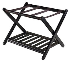 Folding Luggage Rack Wood Shelf Cart Stand Hote... - $64.00