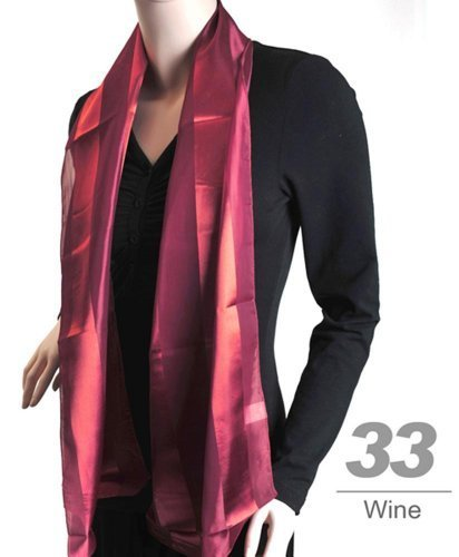 Women's Wine Striped Sheer Polyester Satin Scarf SPS1301