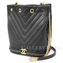 CHANEL Chain Shoulder Bag Chevron Lambskin Black A91885 Italy Authentic ... - $3,607.75