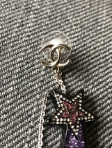 NEW AUTHENTIC CHANEL CC Shooting Star Dangle Long Earrings Crystal image 9