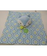 Boppy blue fox Security Blanket Plush Puppet Lovey Green white hexagon p... - $4.94