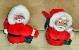Vintage - lot of 2 Santa Claus clip-on Figures - $12.86