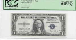 1935D $1 Wide Silver Certificate DF Block Blue Seal PCGS Very Choice New... - $60.44