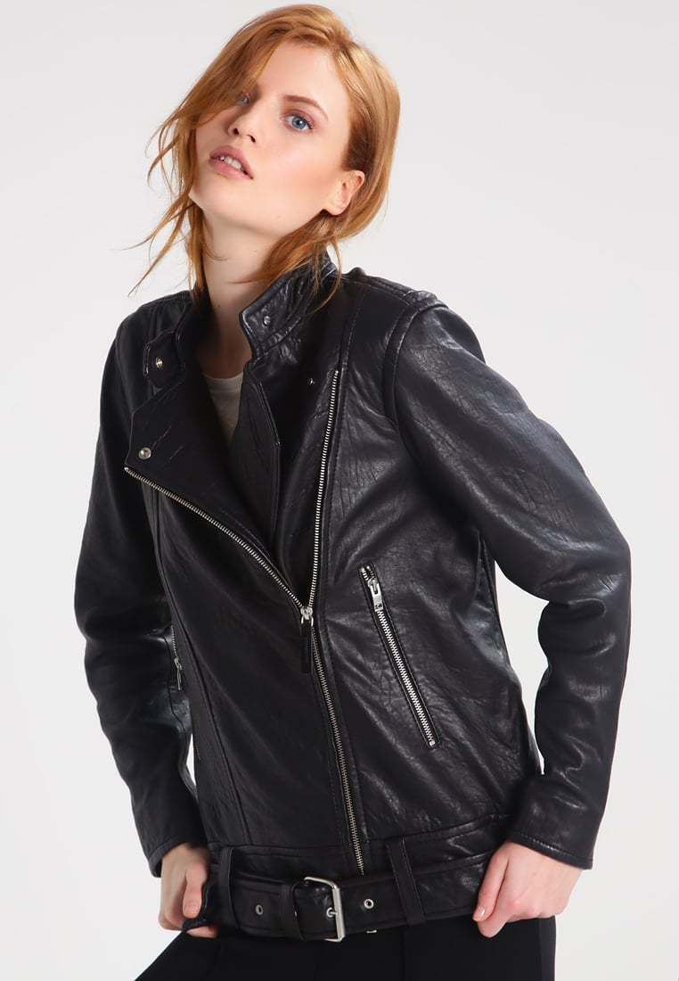 New Women's  Genuine Soft Lambskin Leather Fit Motorcycle  Biker Jacket -60