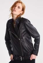 New Women's  Genuine Soft Lambskin Leather Fit Motorcycle  Biker Jacket -60