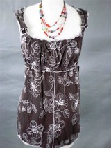 BCBG MAXAZRIA Stretch Line Embroidered Sleeveless Brown Tunic  Blouse NWT Size L - $15.51