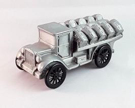Vintage Banthrico Coin Piggy Bank - Beer Barrel Flatbed Truck Pewter Die... - $9.49