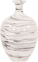 Vase Howard Elliott Bottle White And Black Swirl Porcelain - $379.00