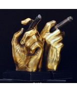 Bookends Art Deco Book Shelf Gift Hand Cigar Brass Bey-Berk Golden - $145.95