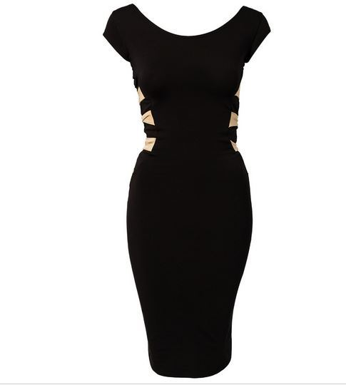 Sexy Black Bandage Hollow out Bodycon Dress